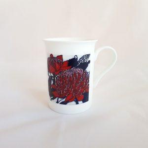 White Bone China Red Waratah Mug